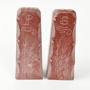 Vtg hand-carved pipestone salt pepper shakers